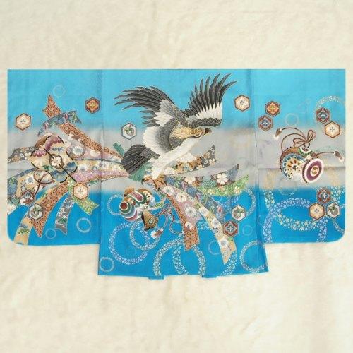 七五三男児着物 正絹羽織単品 濃淡水色 鷹 束ね熨斗 金糸刺繍使い 地紋生地 五歳用 日本製