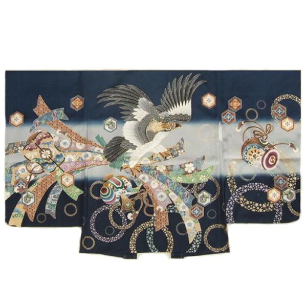 七五三男児着物 正絹羽織単品 紺色 鷹 束ね熨斗 金糸刺繍使い 地紋生地 五歳用 日本製
