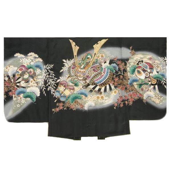 七五三男児着物 正絹羽織単品 黒色 兜 鷹 松竹梅 金糸刺繍使い 地紋生地 五歳用 日本製