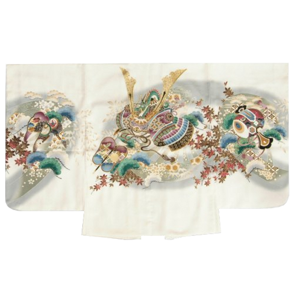 七五三男児着物 正絹羽織単品 白色 兜 鷹 松竹梅 金糸刺繍使い 地紋生地 五歳用 日本製