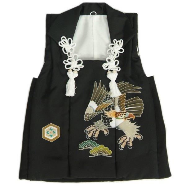 七五三 着物 男の子 正絹 被布単品 黒 鷹 手描き 変わり無地精華生地 日本製