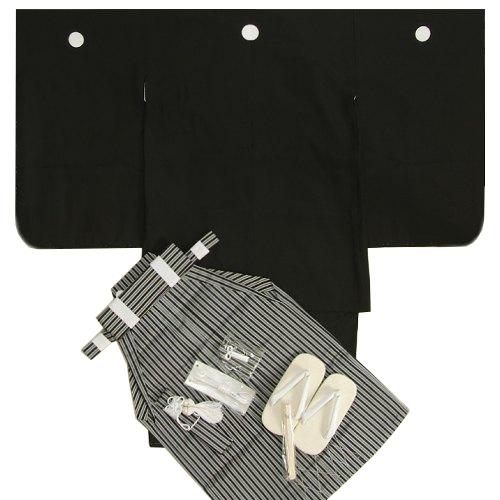 七五三着物5歳 正絹羽織着物 正絹黒縞袴セット 黒紋付 5歳用 12点セット 足袋付きセット 日本製 家紋入れ無料サービス付き