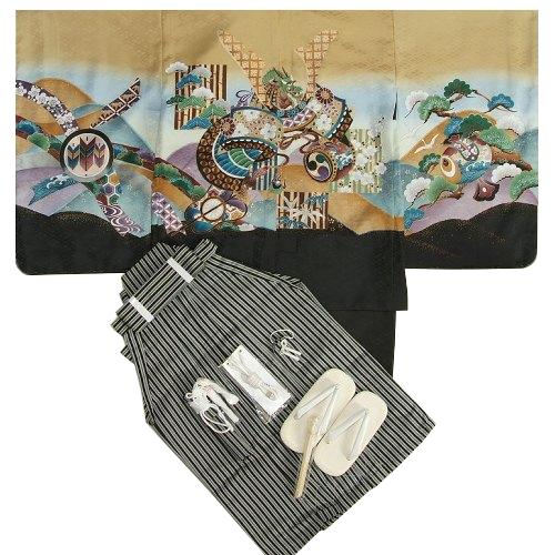 七五三男児着物袴セット 兜 金茶色(黄土色) 松竹梅 黒縞袴 5歳用 12点セット 足袋付きセット
