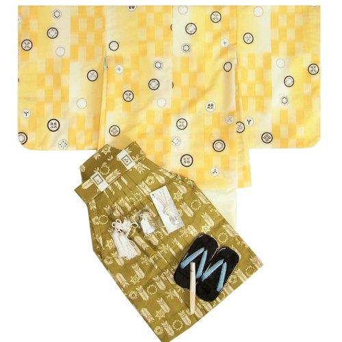 七五三男児着物袴セット 式部浪漫 濃淡黄色市松羽織 黄色地着物 金襴緑紋袴 5歳用 12点セット 足袋付きセット