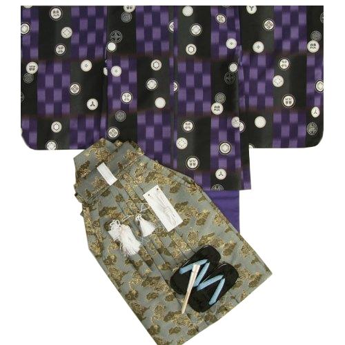 七五三着物五歳 男児着物袴セット 式部浪漫 濃淡紫色市松羽織 紫色地着物 金襴龍紋袴 5歳用 12点セット 足袋付きセット