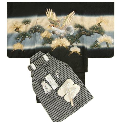 七五三男児正絹着物袴セット 総刺繍鷹黒地柄正絹羽織着物  金括り松葉 黒縞正絹袴 5歳用 12点セット 足袋付きセット