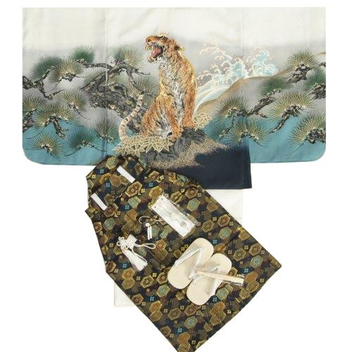 七五三男児着物袴セット 虎 白地羽織着物 金糸刺繍使い 黒紋袴 5歳用 12点セット 足袋付きセット
