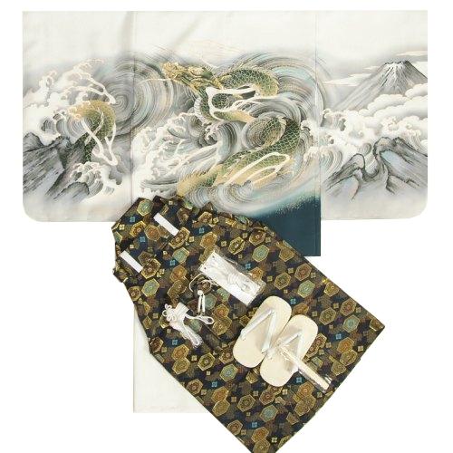 七五三男児着物袴セット 白地羽織 白地着物 龍 金糸刺繍使い 黒紋袴 5歳用 12点セット 足袋付きセット