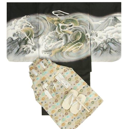七五三男児着物袴セット 黒地羽織着物 ベージュ金襴袴 龍 5歳用 12点セット 足袋付きセット