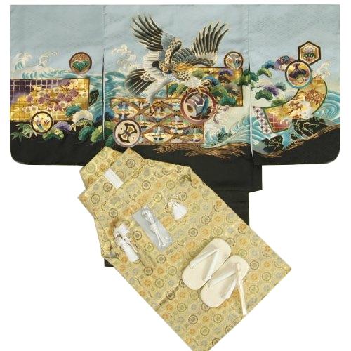七五三男児着物袴セット 鷹 シルバーグレー 金襴紋袴 5歳用 12点セット 足袋付きセット
