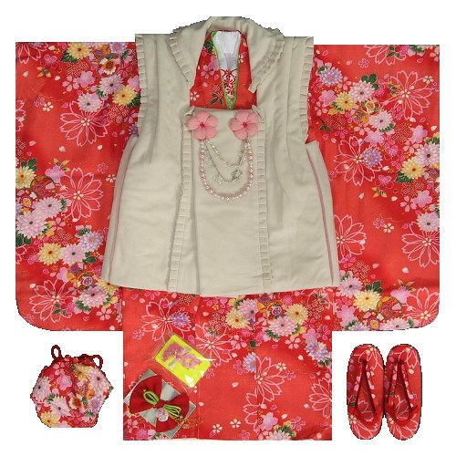 七五三 着物 3歳 女の子被布セット マユミ 赤地 被布ベージュフリルタイプ パール飾り付き 刺繍半衿に足袋も付いたフルセット