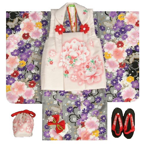 七五三 着物 被布セット着物 3歳 女の子 被布セット  マユミ 灰色黒染め分け 被布淡いピンク 刺繍桜 芍薬 足袋付き12点フルセット