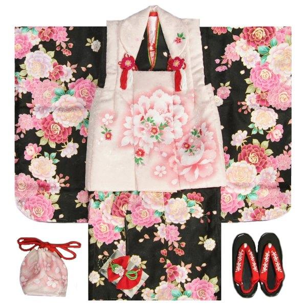 七五三 着物 被布セット着物 3歳 女の子 被布セット  マユミ 黒地 被布淡いピンク 刺繍桜 芍薬 刺繍半襟に足袋付きフルセット