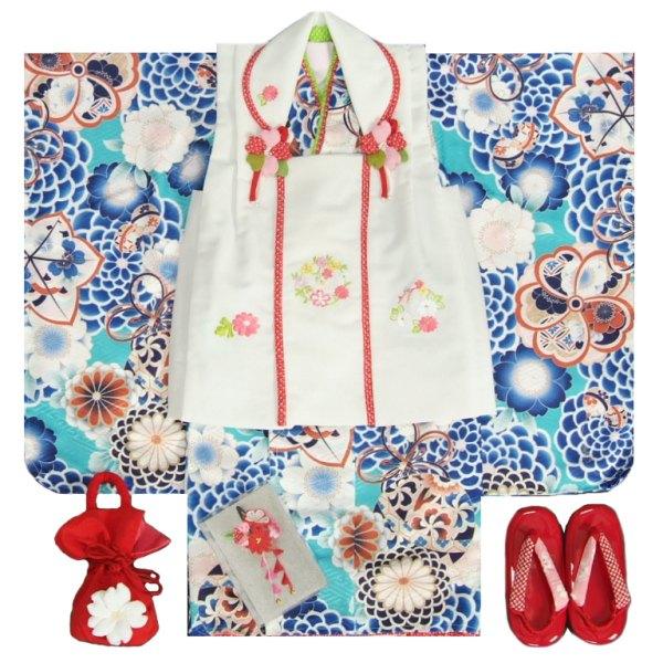 七五三 着物 3歳 女の子被布セット マユミブランド 青緑色 牡丹菊 被布刺繍使い白色 雛祭り 正月 足袋付フルセット 日本製