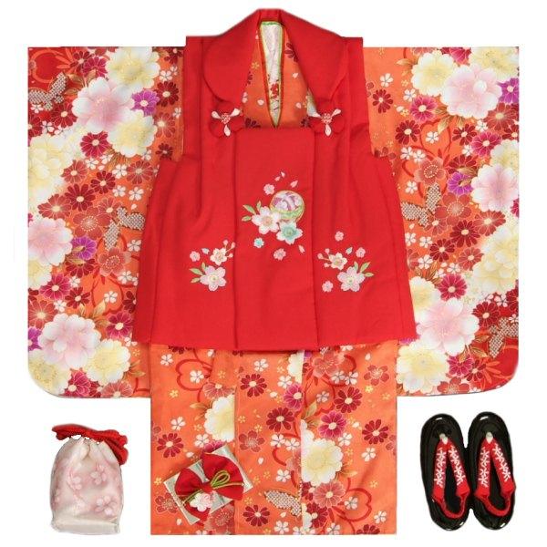 七五三 着物 被布セット着物 3歳 女の子 被布セット  マユミ 朱赤染め分け 被布赤色 刺繍桜 芍薬 足袋付き12点フルセット