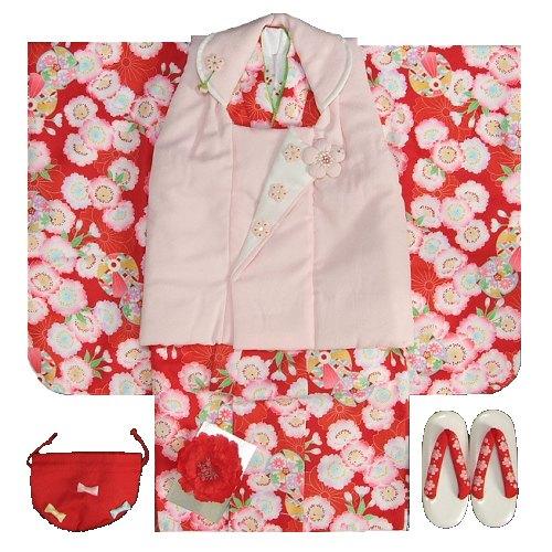 七五三着物 3歳 女の子被布セット チャイルドリームブランド 赤 淡いピンク被布セット 桜 風車 足袋に刺繍半衿の付いたフルセット