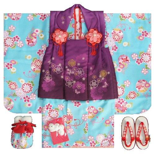 七五三着物 3歳 女の子被布セット リョウコキクチ 濃水色地 被布紫色刺繍使い 雛祭り お正月 足袋に腰紐付きの13点フルセット