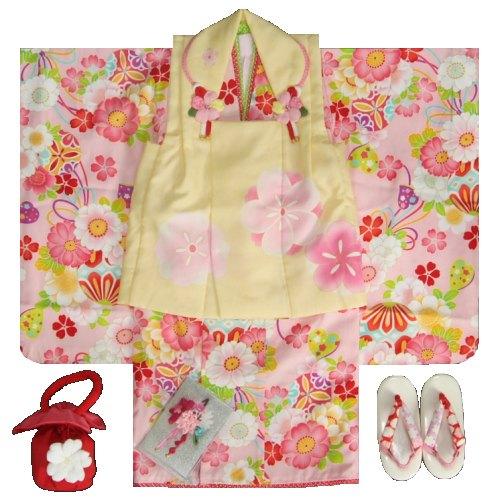 七五三着物 3歳女の子被布セット 式部浪漫ブランド ピンク着物 桜梅図 被布黄色 足袋付セット 753