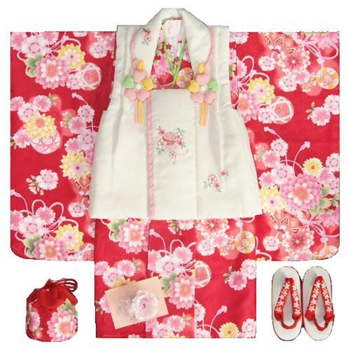 七五三 着物 3歳 女の子被布セット 夢想ブランド 赤 被布ベージュ 桜刺繍 金彩 刺繍半衿付き 足袋付フルセット