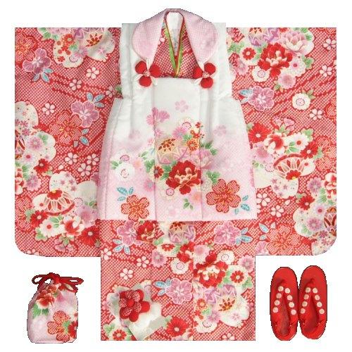七五三 着物 3歳 正絹 女の子被布セット 赤色総疋田 華尽くし 被布白地ピンク切り替え 金彩使い 足袋付きフルセット