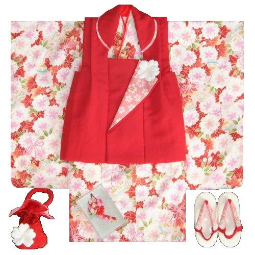 七五三着物 3歳女の子被布セット 京都花ひめブランド 赤地色 被布赤色 楓 桜 地紋生地 足袋付きセット