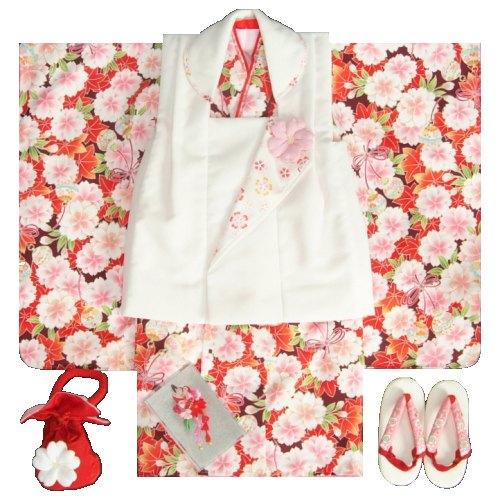七五三着物 三歳女の子被布セット 京都花ひめブランド 赤紫 被布白 楓 桜 地紋生地 足袋付きセット
