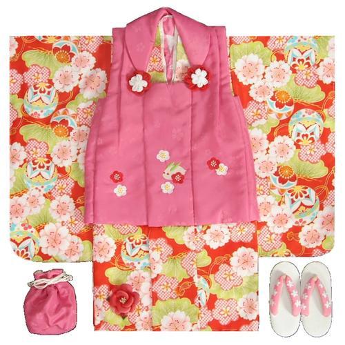 七五三着物3歳 女の子被布セット  小町kids(小町キッズ)ブランド 赤地色着物 被布チェリーピンク 刺繍使い 八重桜 刺繍半衿に足袋付きフルセット