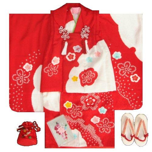 七五三被布セット正絹着物 3歳女の子被布セット 赤色 本絞り 雪輪染め 刺繍四季梅桜 足袋付きフルセット 日本製