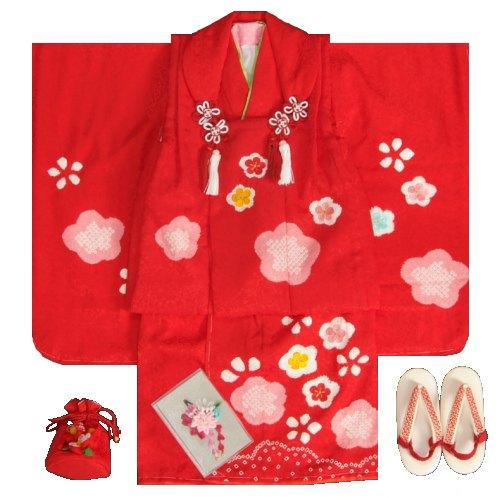 七五三被布セット正絹着物 3歳女の子被布セット 赤色 本梅絞り染め 刺繍四季梅桜 足袋付きフルセット 日本製
