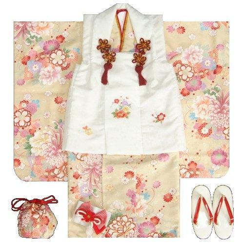 七五三 着物 3歳 女の子被布セット 天使ブランド ベージュ 乱菊 金彩使い 被布桜刺繍白色 雛祭り 正月 足袋付セット 日本製