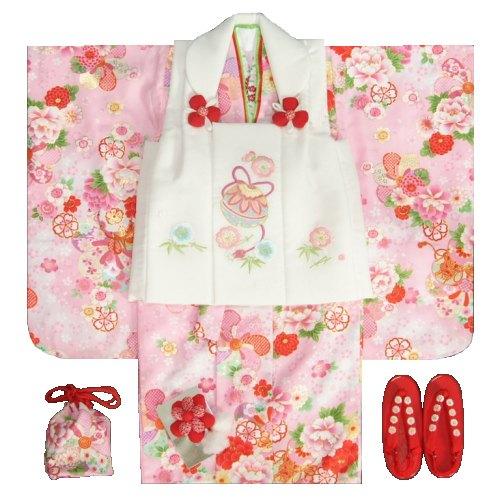 七五三着物 3歳 女の子被布セット 京都花ひめ 濃淡ピンク着物 被布白刺繍使い 捻り梅 鈴 足袋付き11点フルセット