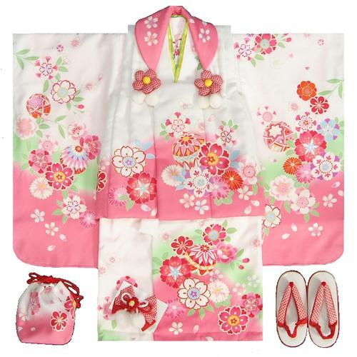 七五三 着物 3歳女の子被布セット 天使ブランド 白ピンク染め分け 被布白ピンク切替 二段重ね衿 刺繍半衿に足袋付きセット