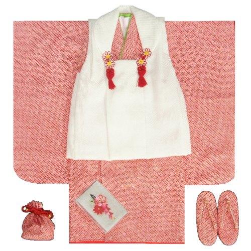 七五三着物 正絹 三歳女の子被布セット 赤色 被布白 総本鹿の子絞り 足袋付きセット 日本製