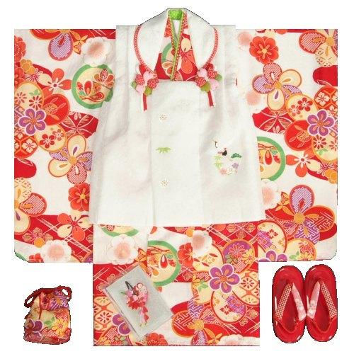 七五三 着物 3歳 正絹 女の子被布セット 赤色 捻り梅 花菱柄 被布白 刺繍使い 足袋付きセット 日本製