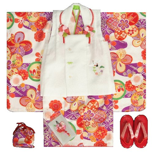 七五三 着物 3歳 正絹 女の子被布セット 紫色 捻り梅 花菱柄 被布白 刺繍使い 足袋付きセット 日本製