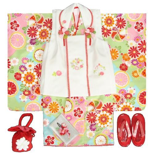 七五三着物 3歳 女の子被布セット 京都花ひめブランド 華風車 黄緑水色ピンク 被布白色 華珠刺繍 足袋付セット 日本製