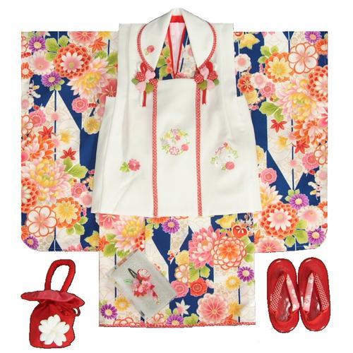 七五三着物 3歳 女の子被布セット 京都花ひめブランド 矢絣文様 青色 被布白色 華珠刺繍 足袋付セット 日本製