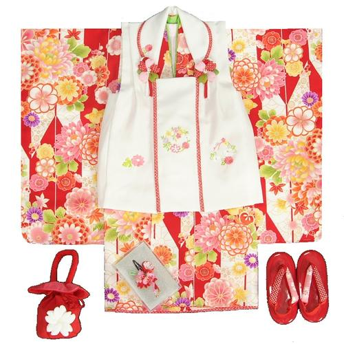 七五三着物 3歳 女の子被布セット 京都花ひめブランド 矢絣文様 赤色 被布白色 華珠刺繍 足袋付セット 日本製