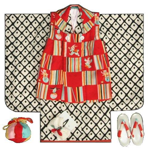 七五三着物3歳 女の子被布セット モダンアンテナブランド 黒地着物 大鹿の子文様 被布赤色虹色市松 足袋付セット 日本製
