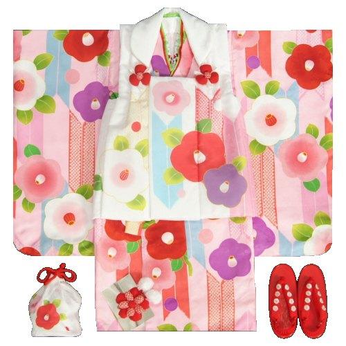 七五三 着物 3歳女の子被布セット 京都花ひめ 光琳椿 ピンク地着物 被布白 二段重ね衿 刺繍半衿に足袋付きフルセット