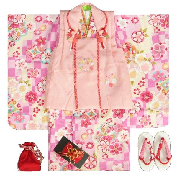 七五三着物 正絹 3歳女の子被布セット 京都花ひめブランド 濃淡ピンク 変わり市松 被布ピンク 刺繍使い 足袋付セット 日本製