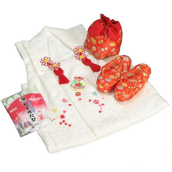 七五三 3歳から5歳用 正絹被布草履きんちゃくセット 草履赤 被布白地 足袋付きセット 日本製