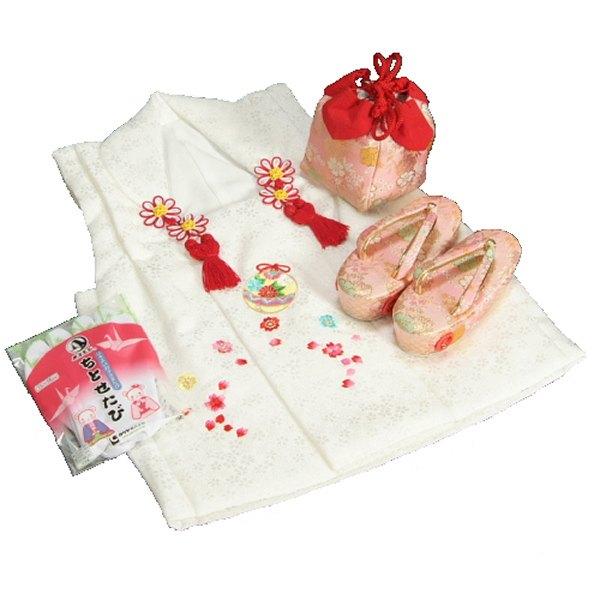 七五三 3歳から5歳用 正絹被布草履きんちゃくセット 草履ピンク 被布白地 足袋付きセット 日本製