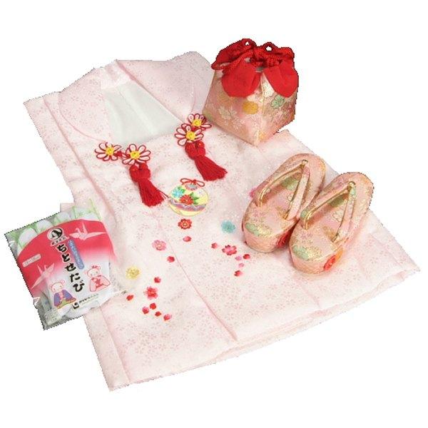 七五三 3歳から5歳用 正絹被布草履きんちゃくセット 草履ピンク 被布ピンク地 足袋付きセット 日本製