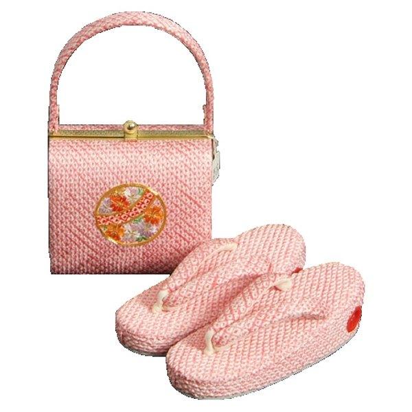 七五三に最適な草履バッグセット 正絹 3歳~5歳 ピンク まり 四ツ巻総本絞り鹿の子生地 手染め 日本製