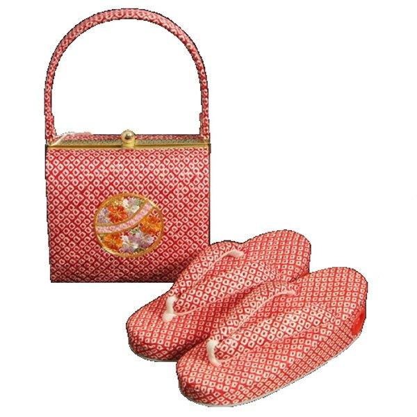 七五三に最適な草履バッグセット 正絹 3歳~5歳 赤 まり 四ツ巻総本絞り鹿の子生地 手染め 日本製