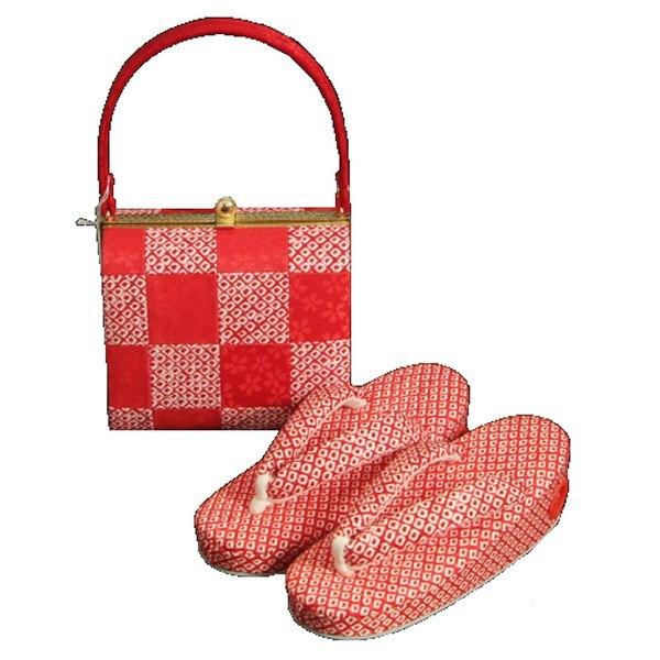 七五三に最適な草履バッグセット 正絹 3歳~5歳 赤 市松 四ツ巻総本絞り鹿の子生地 手染め 日本製