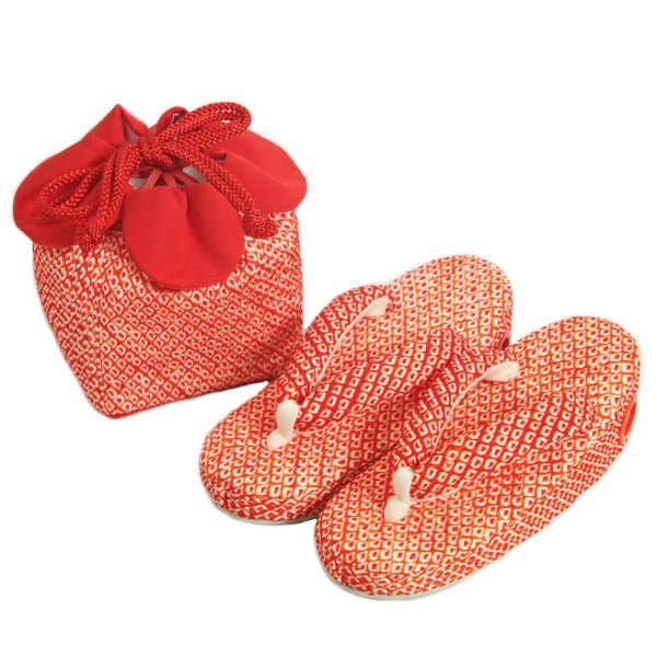 七五三に最適な草履きんちゃくセット 正絹 3歳~5歳 赤 四ツ巻総本絞り鹿の子生地 手染め 日本製