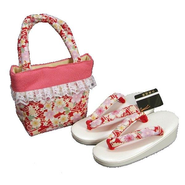 七五三 3歳から5歳用 草履バッグセット 赤 桜柄 日本製