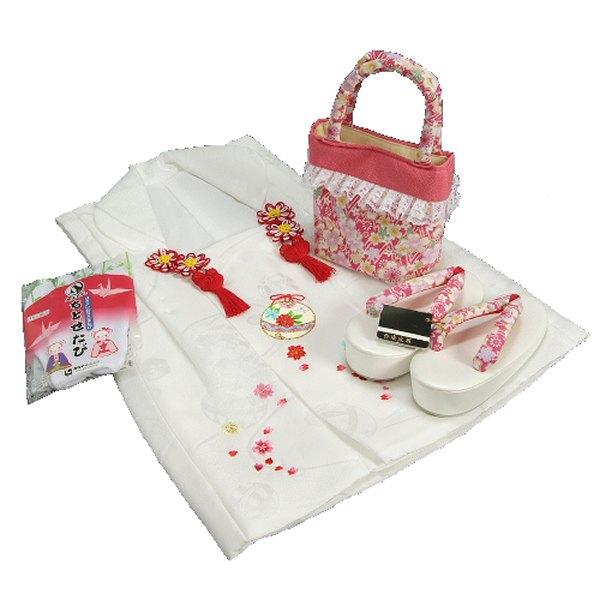 七五三 3歳から5歳用 正絹被布草履バッグセット ピンク 桜柄 被布白地 足袋付きセット 日本製
